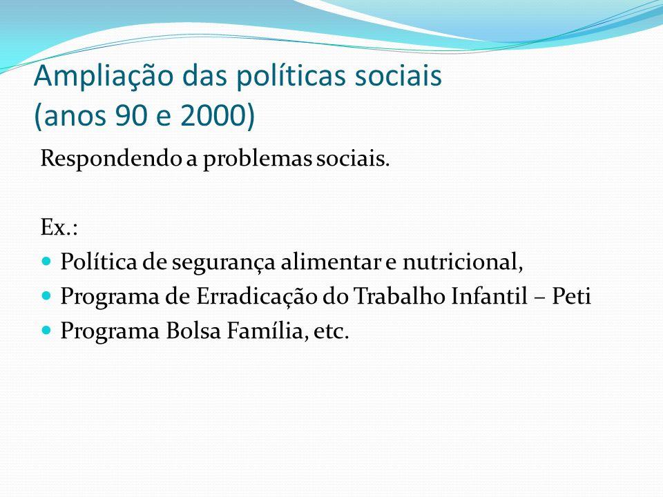 Ampliação das políticas sociais (anos 90 e 2000) Respondendo a problemas sociais.