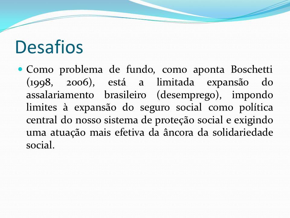 Desafios Como problema de fundo, como aponta Boschetti (1998, 2006), está a limitada expansão do assalariamento brasileiro (desemprego), impondo limites à expansão do seguro social como política central do nosso sistema de proteção social e exigindo uma atuação mais efetiva da âncora da solidariedade social.