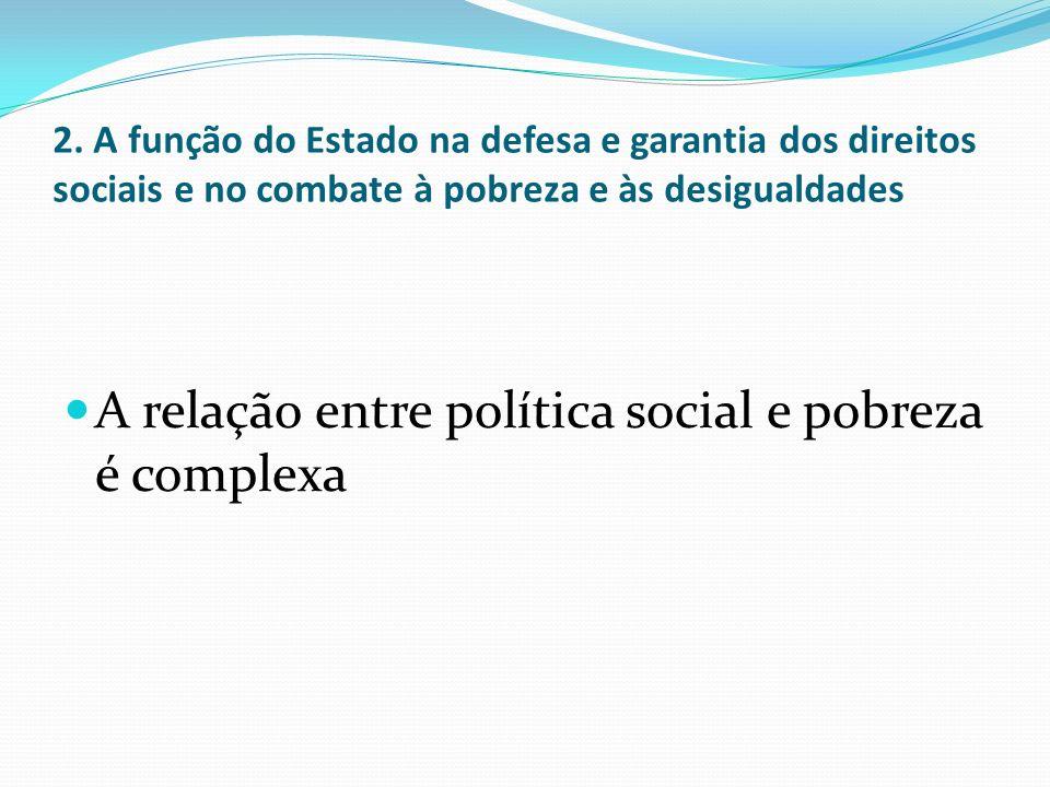 2. A função do Estado na defesa e garantia dos direitos sociais e no combate à pobreza e às desigualdades A relação entre política social e pobreza é