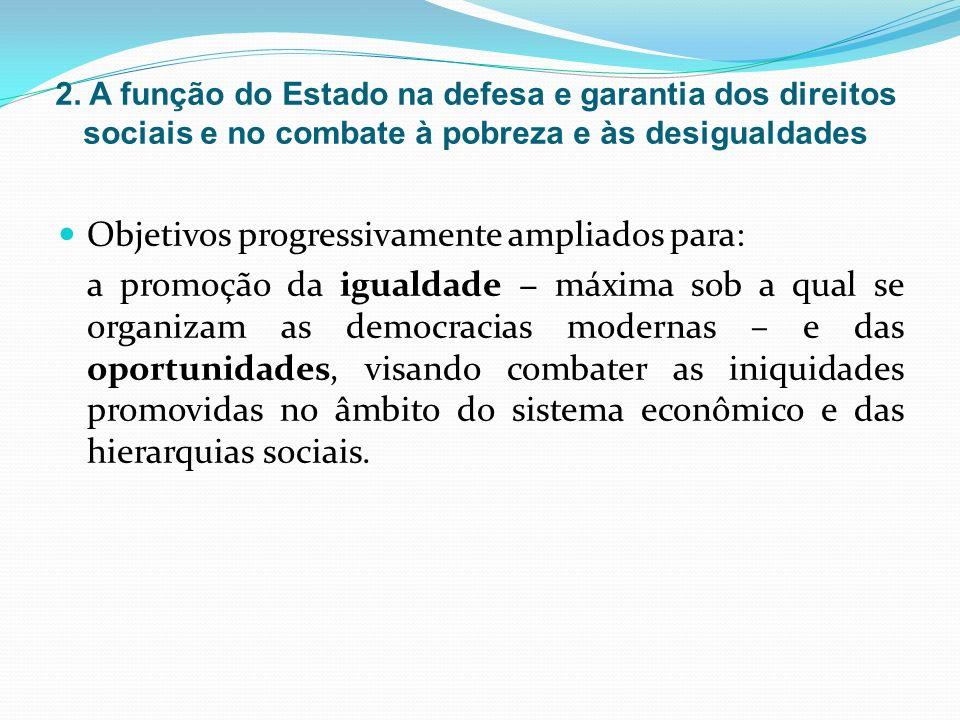 Objetivos progressivamente ampliados para: a promoção da igualdade máxima sob a qual se organizam as democracias modernas – e das oportunidades, visando combater as iniquidades promovidas no âmbito do sistema econômico e das hierarquias sociais.