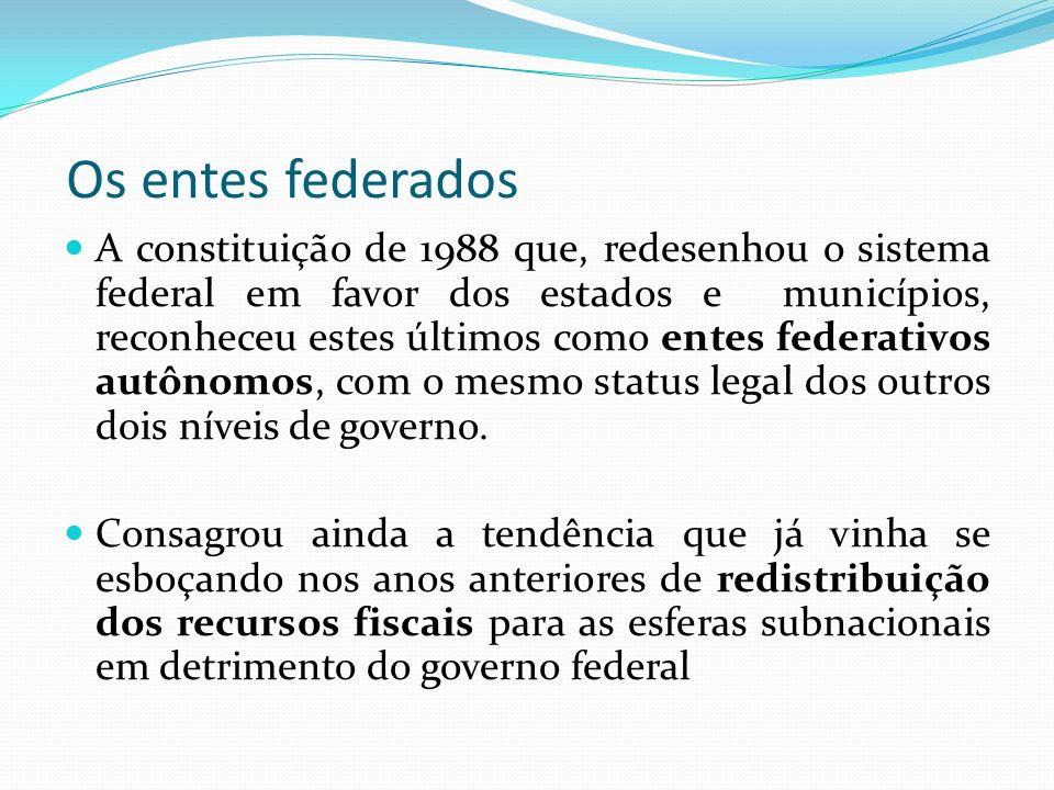 Os entes federados A constituição de 1988 que, redesenhou o sistema federal em favor dos estados e municípios, reconheceu estes últimos como entes federativos autônomos, com o mesmo status legal dos outros dois níveis de governo.