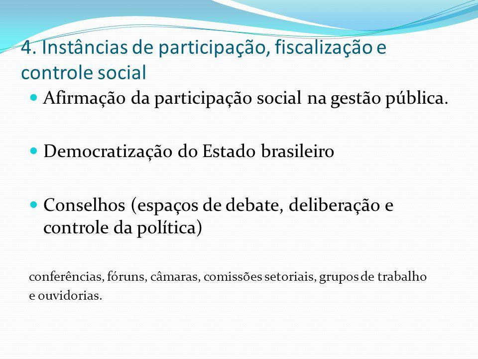 4. Instâncias de participação, fiscalização e controle social Afirmação da participação social na gestão pública. Democratização do Estado brasileiro