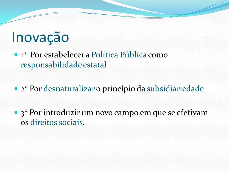 Inovação 1° Por estabelecer a Política Pública como responsabilidade estatal 2° Por desnaturalizar o princípio da subsidiariedade 3° Por introduzir um novo campo em que se efetivam os direitos sociais.