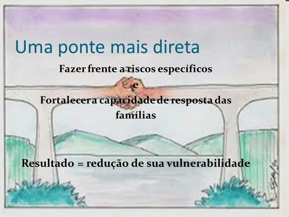 Uma ponte mais direta Fazer frente a riscos específicos e Fortalecer a capacidade de resposta das famílias Resultado = redução de sua vulnerabilidade