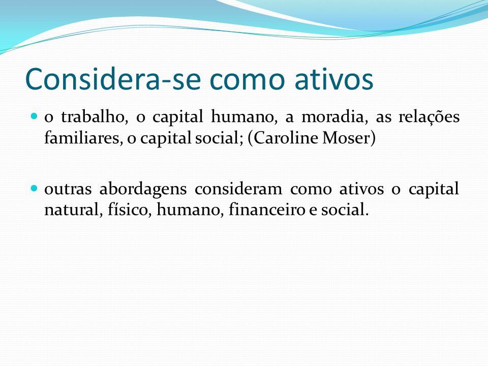 Considera-se como ativos o trabalho, o capital humano, a moradia, as relações familiares, o capital social; (Caroline Moser) outras abordagens consideram como ativos o capital natural, físico, humano, financeiro e social.
