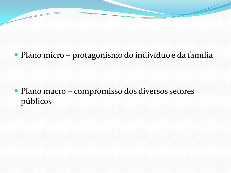 Plano micro – protagonismo do indivíduo e da família Plano macro – compromisso dos diversos setores públicos