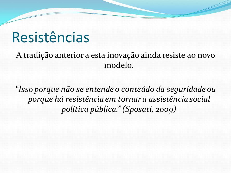 Resistências De um lado a concepção: Política pública, dever do estado, direito da população.