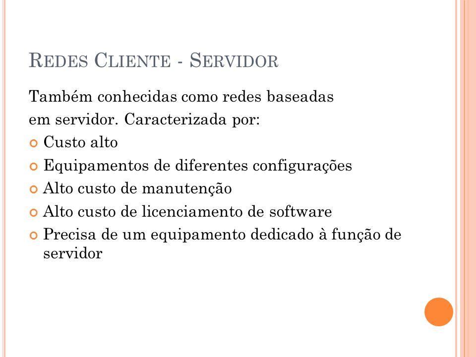 R EDES C LIENTE - S ERVIDOR Também conhecidas como redes baseadas em servidor. Caracterizada por: Custo alto Equipamentos de diferentes configurações