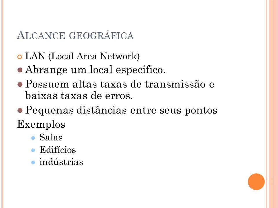 A LCANCE GEOGRÁFICA LAN (Local Area Network) Abrange um local específico. Possuem altas taxas de transmissão e baixas taxas de erros. Pequenas distânc