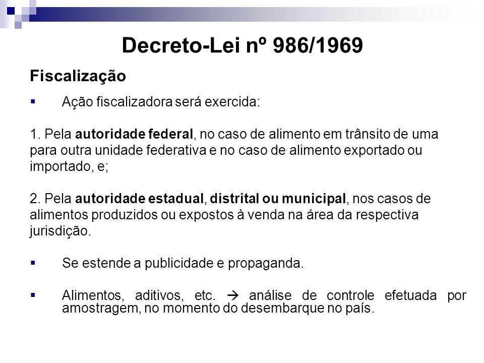 Decreto-Lei nº 986/1969 Fiscalização Ação fiscalizadora será exercida: 1. Pela autoridade federal, no caso de alimento em trânsito de uma para outra u