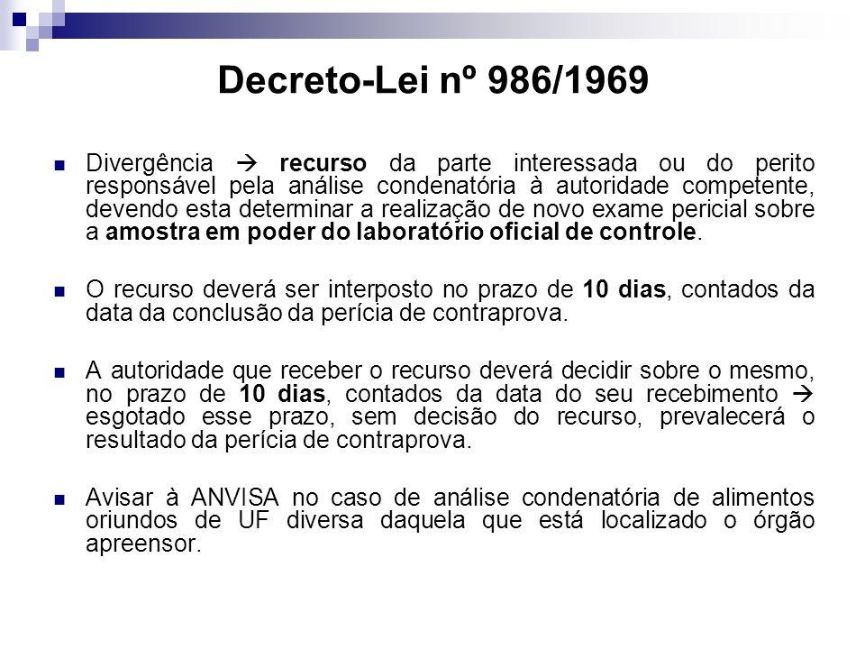 Decreto-Lei nº 986/1969 Divergência recurso da parte interessada ou do perito responsável pela análise condenatória à autoridade competente, devendo esta determinar a realização de novo exame pericial sobre a amostra em poder do laboratório oficial de controle.