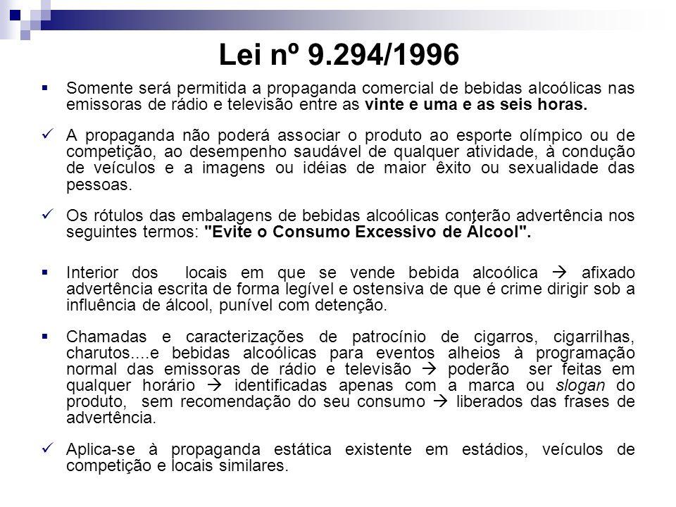 Lei nº 9.294/1996 Somente será permitida a propaganda comercial de bebidas alcoólicas nas emissoras de rádio e televisão entre as vinte e uma e as seis horas.