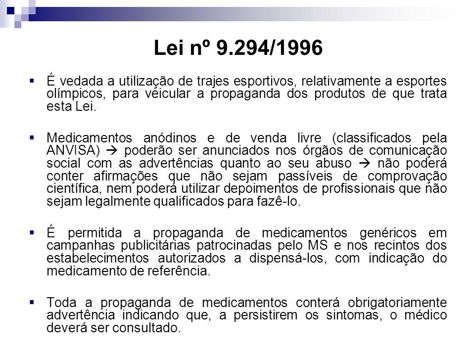 Lei nº 9.294/1996 É vedada a utilização de trajes esportivos, relativamente a esportes olímpicos, para veicular a propaganda dos produtos de que trata