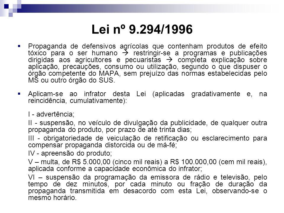 Lei nº 9.294/1996 Propaganda de defensivos agrícolas que contenham produtos de efeito tóxico para o ser humano restringir-se a programas e publicações