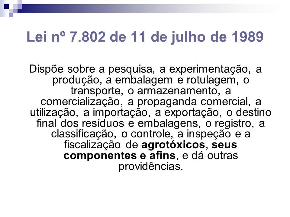 Lei nº 7.802 de 11 de julho de 1989 Dispõe sobre a pesquisa, a experimentação, a produção, a embalagem e rotulagem, o transporte, o armazenamento, a comercialização, a propaganda comercial, a utilização, a importação, a exportação, o destino final dos resíduos e embalagens, o registro, a classificação, o controle, a inspeção e a fiscalização de agrotóxicos, seus componentes e afins, e dá outras providências.