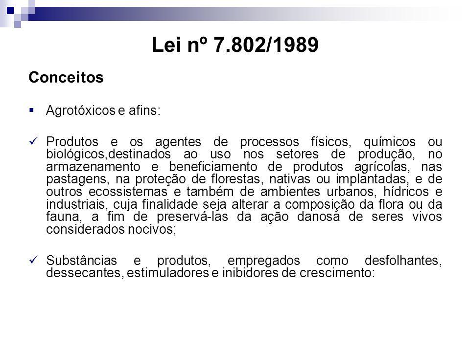Lei nº 7.802/1989 Conceitos Agrotóxicos e afins: Produtos e os agentes de processos físicos, químicos ou biológicos,destinados ao uso nos setores de p
