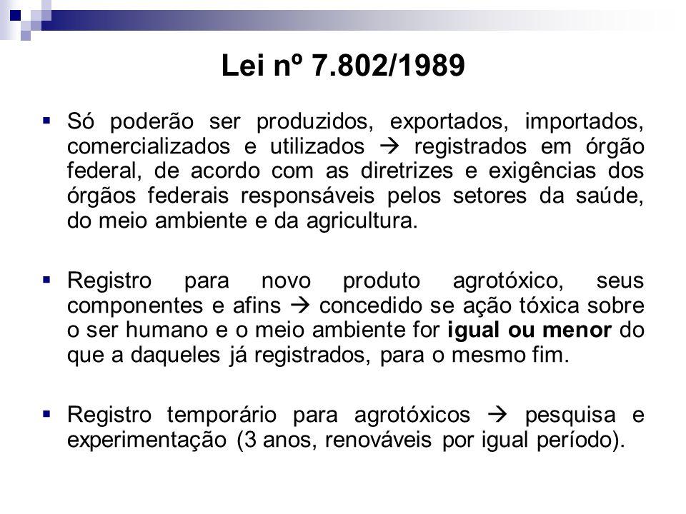 Lei nº 7.802/1989 Só poderão ser produzidos, exportados, importados, comercializados e utilizados registrados em órgão federal, de acordo com as diretrizes e exigências dos órgãos federais responsáveis pelos setores da saúde, do meio ambiente e da agricultura.