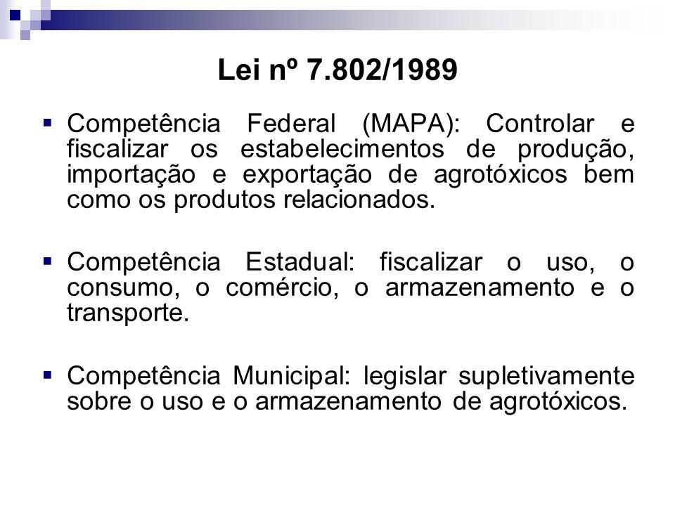 Lei nº 7.802/1989 Competência Federal (MAPA): Controlar e fiscalizar os estabelecimentos de produção, importação e exportação de agrotóxicos bem como