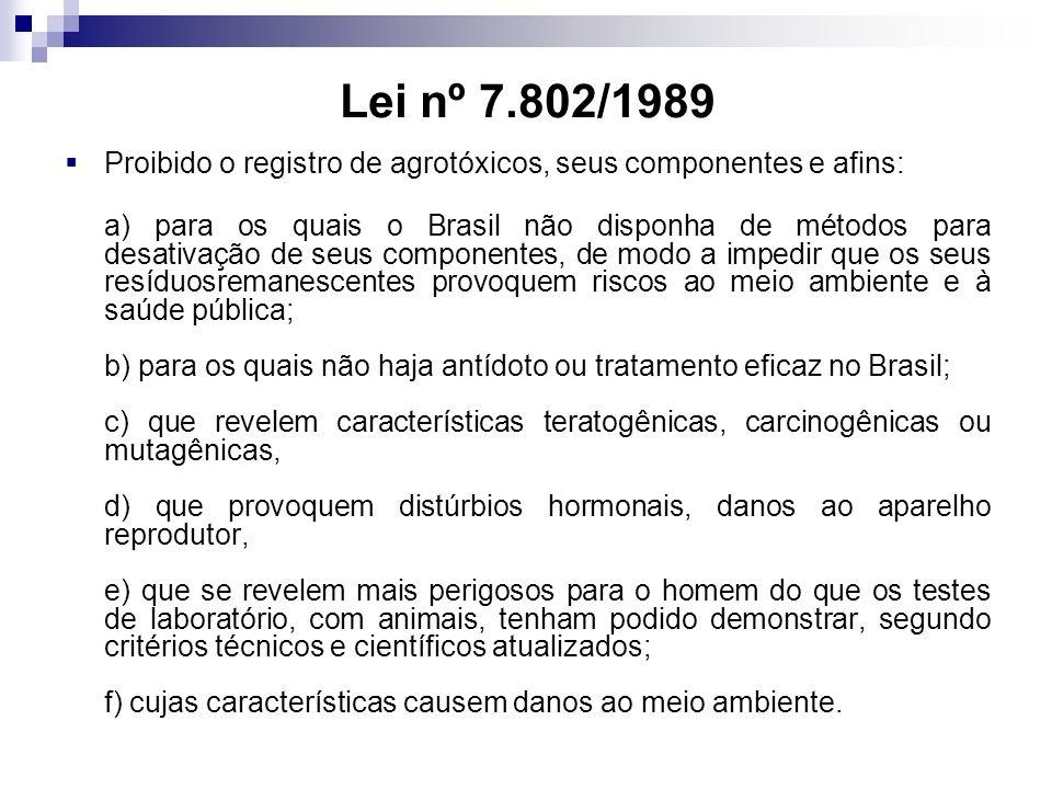 Proibido o registro de agrotóxicos, seus componentes e afins: a) para os quais o Brasil não disponha de métodos para desativação de seus componentes,