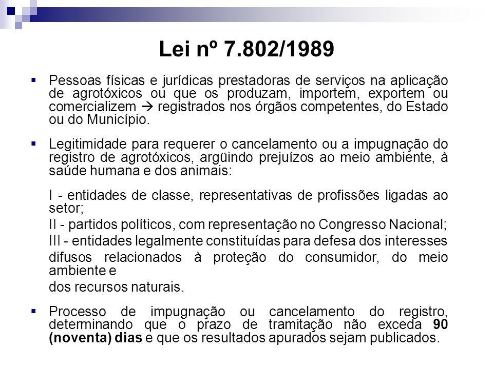Lei nº 7.802/1989 Pessoas físicas e jurídicas prestadoras de serviços na aplicação de agrotóxicos ou que os produzam, importem, exportem ou comercializem registrados nos órgãos competentes, do Estado ou do Município.