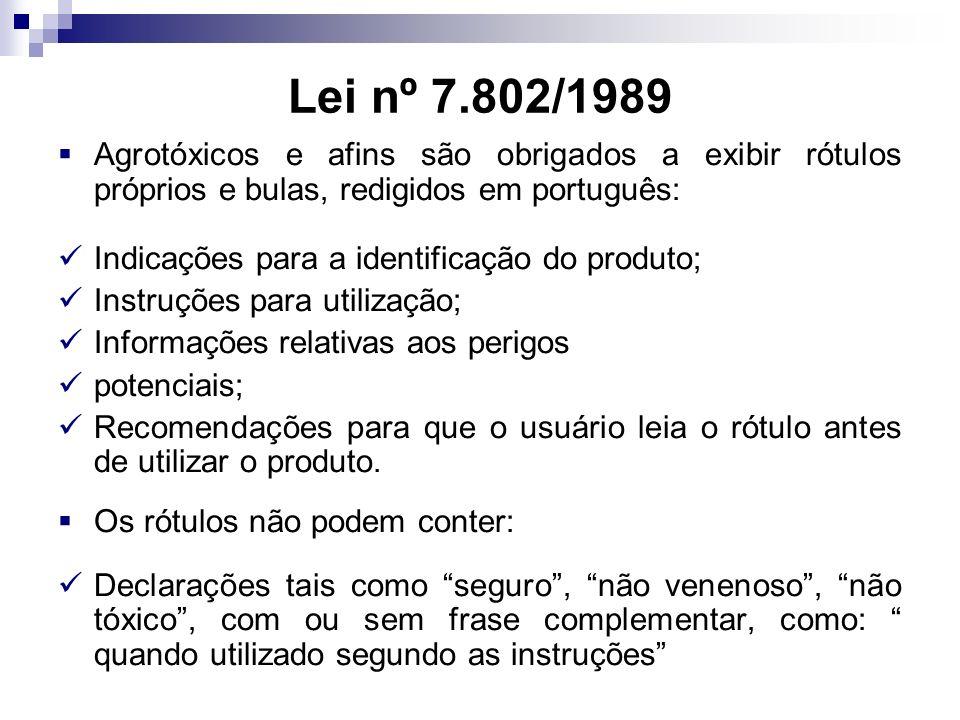 Lei nº 7.802/1989 Agrotóxicos e afins são obrigados a exibir rótulos próprios e bulas, redigidos em português: Indicações para a identificação do produto; Instruções para utilização; Informações relativas aos perigos potenciais; Recomendações para que o usuário leia o rótulo antes de utilizar o produto.