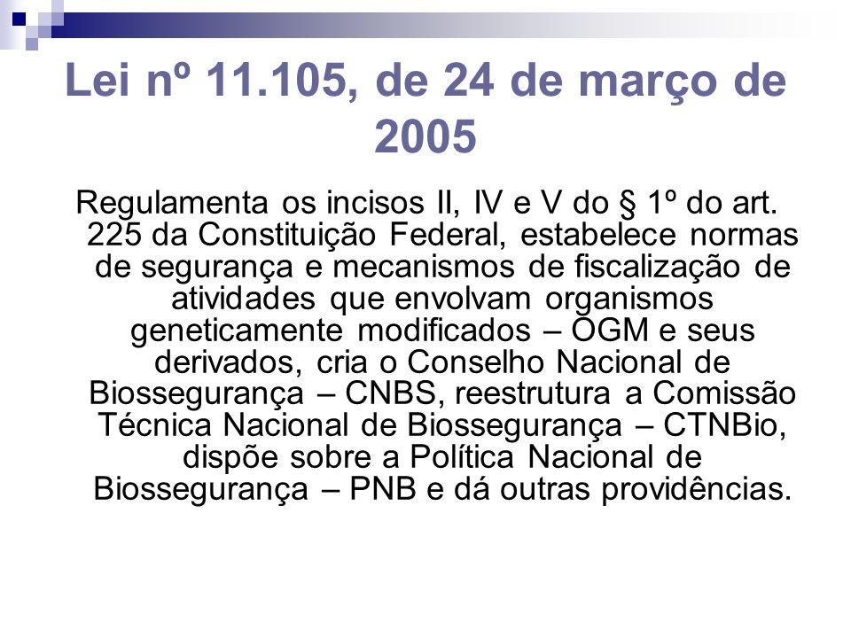 Lei nº 11.105, de 24 de março de 2005 Regulamenta os incisos II, IV e V do § 1º do art. 225 da Constituição Federal, estabelece normas de segurança e