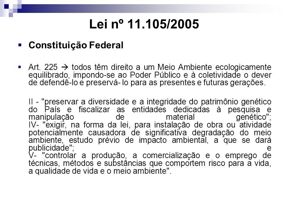 Lei nº 11.105/2005 Constituição Federal Art. 225 todos têm direito a um Meio Ambiente ecologicamente equilibrado, impondo-se ao Poder Público e à cole