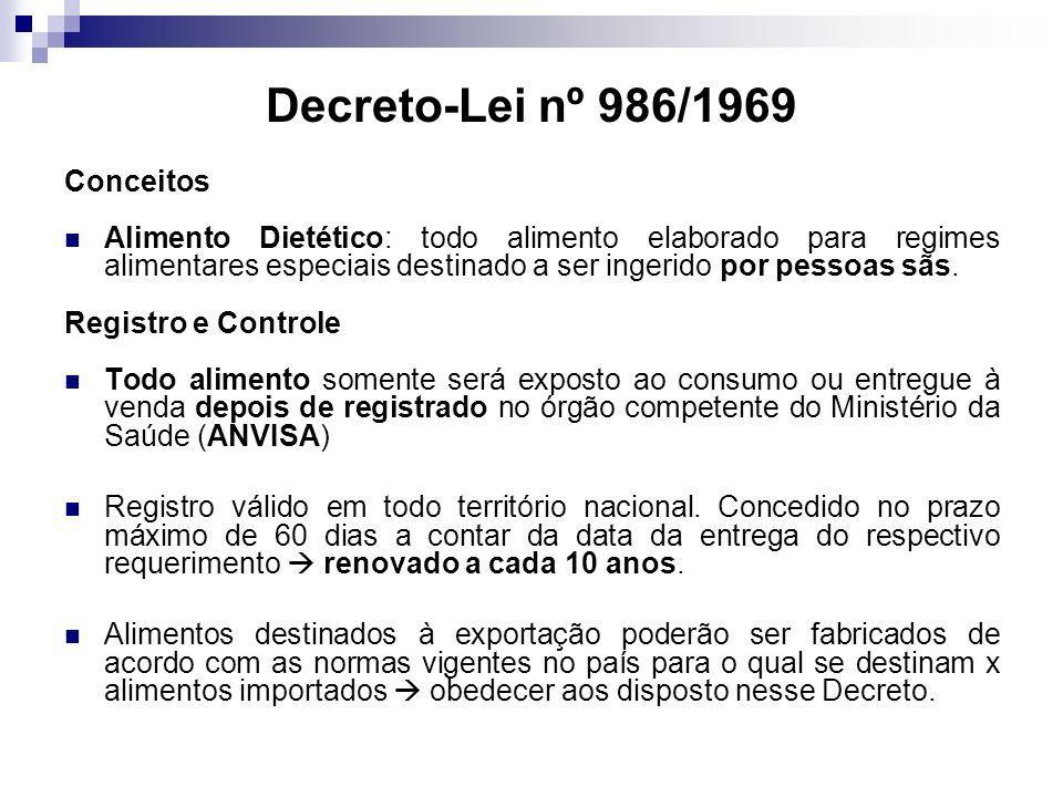 Decreto-Lei nº 986/1969 Conceitos Alimento Dietético: todo alimento elaborado para regimes alimentares especiais destinado a ser ingerido por pessoas sãs.