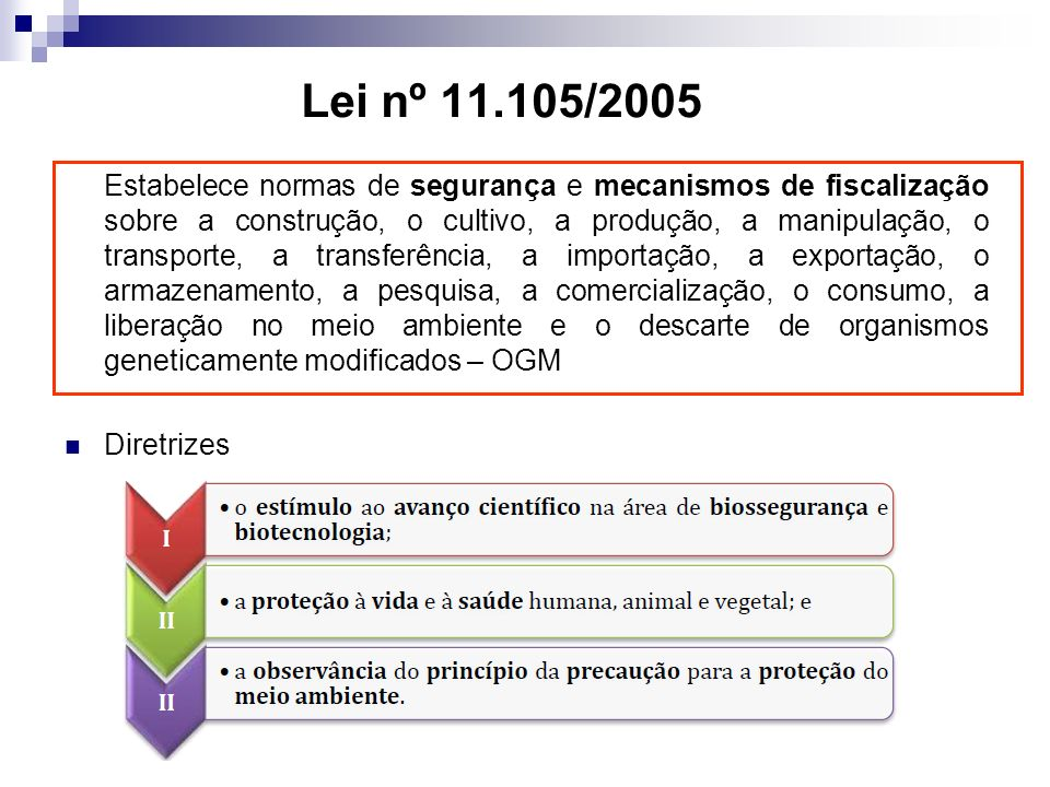 Lei nº 11.105/2005 Estabelece normas de segurança e mecanismos de fiscalização sobre a construção, o cultivo, a produção, a manipulação, o transporte, a transferência, a importação, a exportação, o armazenamento, a pesquisa, a comercialização, o consumo, a liberação no meio ambiente e o descarte de organismos geneticamente modificados – OGM Diretrizes