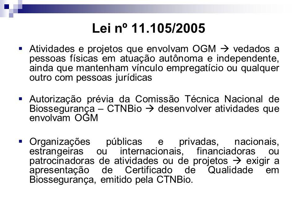 Lei nº 11.105/2005 Atividades e projetos que envolvam OGM vedados a pessoas físicas em atuação autônoma e independente, ainda que mantenham vínculo em