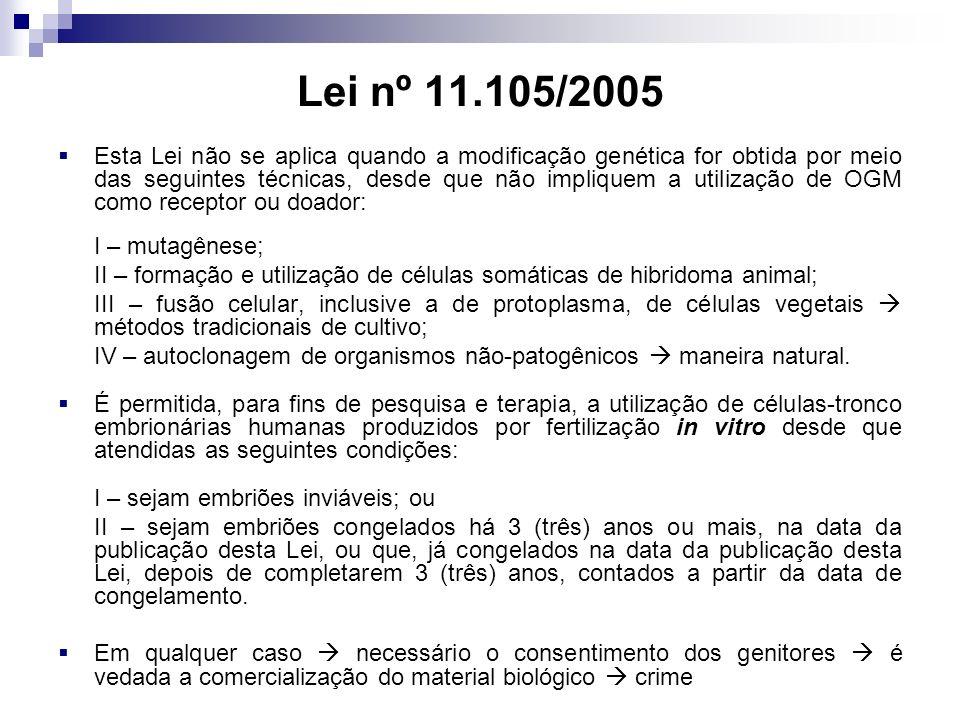 Lei nº 11.105/2005 Esta Lei não se aplica quando a modificação genética for obtida por meio das seguintes técnicas, desde que não impliquem a utilização de OGM como receptor ou doador: I – mutagênese; II – formação e utilização de células somáticas de hibridoma animal; III – fusão celular, inclusive a de protoplasma, de células vegetais métodos tradicionais de cultivo; IV – autoclonagem de organismos não-patogênicos maneira natural.
