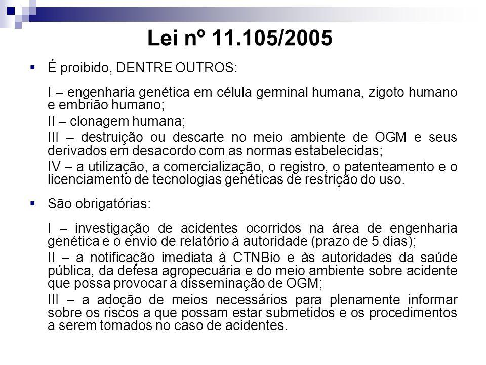 Lei nº 11.105/2005 É proibido, DENTRE OUTROS: I – engenharia genética em célula germinal humana, zigoto humano e embrião humano; II – clonagem humana; III – destruição ou descarte no meio ambiente de OGM e seus derivados em desacordo com as normas estabelecidas; IV – a utilização, a comercialização, o registro, o patenteamento e o licenciamento de tecnologias genéticas de restrição do uso.