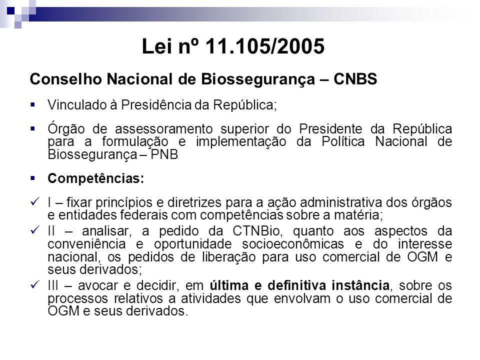 Lei nº 11.105/2005 Conselho Nacional de Biossegurança – CNBS Vinculado à Presidência da República; Órgão de assessoramento superior do Presidente da R