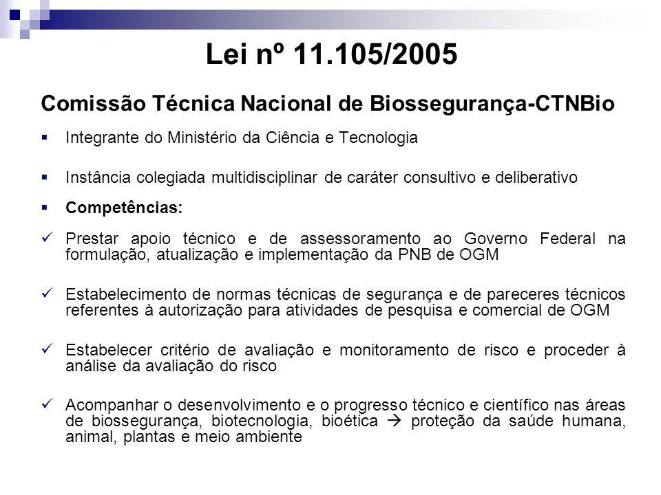 Lei nº 11.105/2005 Comissão Técnica Nacional de Biossegurança-CTNBio Integrante do Ministério da Ciência e Tecnologia Instância colegiada multidiscipl