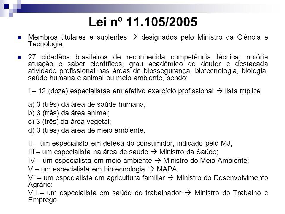 Lei nº 11.105/2005 Membros titulares e suplentes designados pelo Ministro da Ciência e Tecnologia 27 cidadãos brasileiros de reconhecida competência t