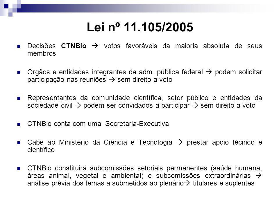 Lei nº 11.105/2005 Decisões CTNBio votos favoráveis da maioria absoluta de seus membros Orgãos e entidades integrantes da adm. pública federal podem s