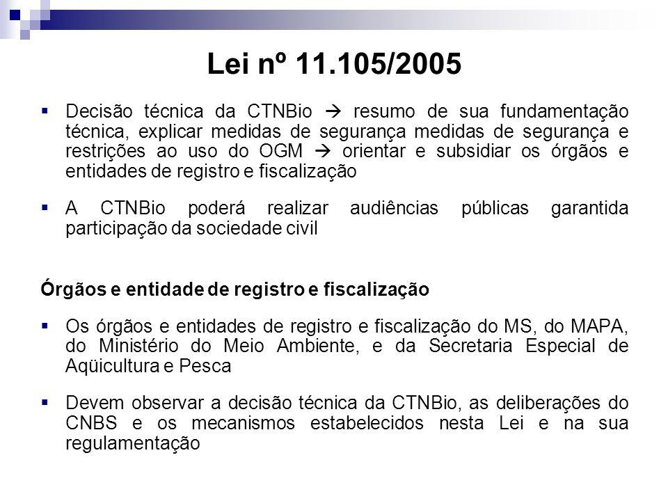 Lei nº 11.105/2005 Decisão técnica da CTNBio resumo de sua fundamentação técnica, explicar medidas de segurança medidas de segurança e restrições ao u