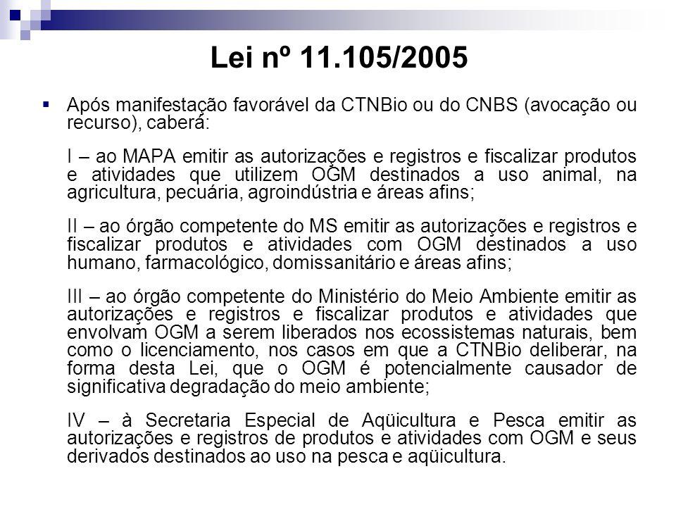Lei nº 11.105/2005 Após manifestação favorável da CTNBio ou do CNBS (avocação ou recurso), caberá: I – ao MAPA emitir as autorizações e registros e fi