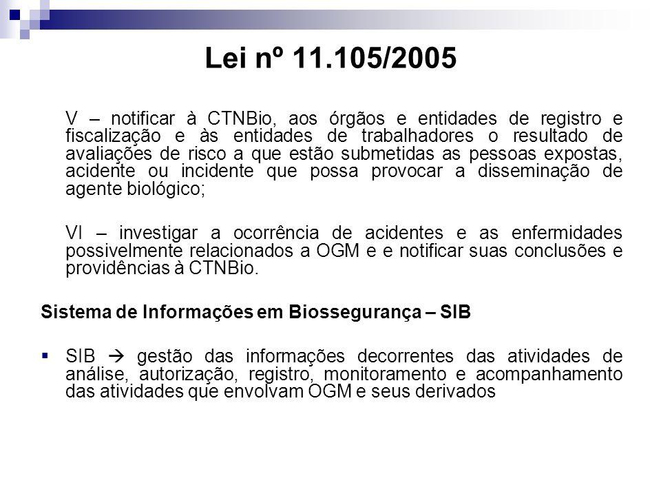 Lei nº 11.105/2005 V – notificar à CTNBio, aos órgãos e entidades de registro e fiscalização e às entidades de trabalhadores o resultado de avaliações
