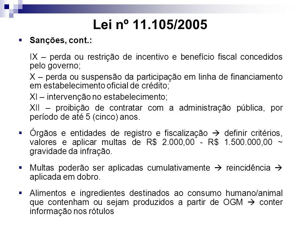 Lei nº 11.105/2005 Sanções, cont.: IX – perda ou restrição de incentivo e benefício fiscal concedidos pelo governo; X – perda ou suspensão da particip