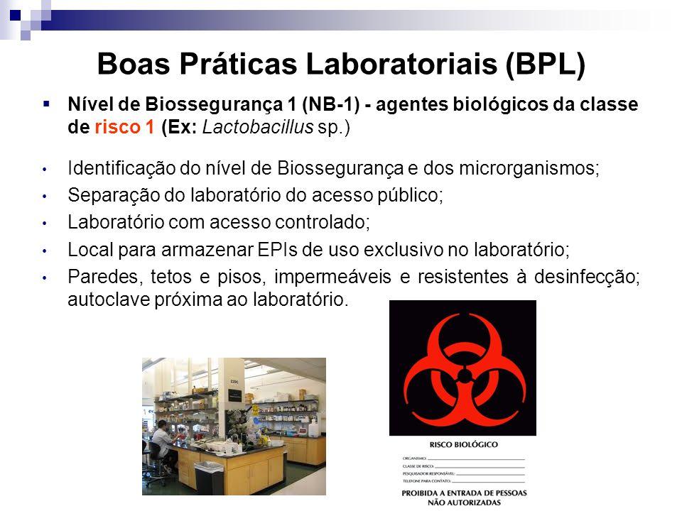 Boas Práticas Laboratoriais (BPL) Nível de Biossegurança 1 (NB-1) - agentes biológicos da classe de risco 1 (Ex: Lactobacillus sp.) Identificação do nível de Biossegurança e dos microrganismos; Separação do laboratório do acesso público; Laboratório com acesso controlado; Local para armazenar EPIs de uso exclusivo no laboratório; Paredes, tetos e pisos, impermeáveis e resistentes à desinfecção; autoclave próxima ao laboratório.