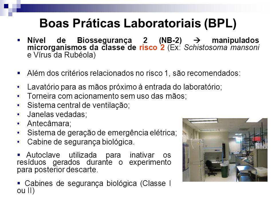 Boas Práticas Laboratoriais (BPL) Nível de Biossegurança 2 (NB-2) manipulados microrganismos da classe de risco 2 (Ex: Schistosoma mansoni e Vírus da