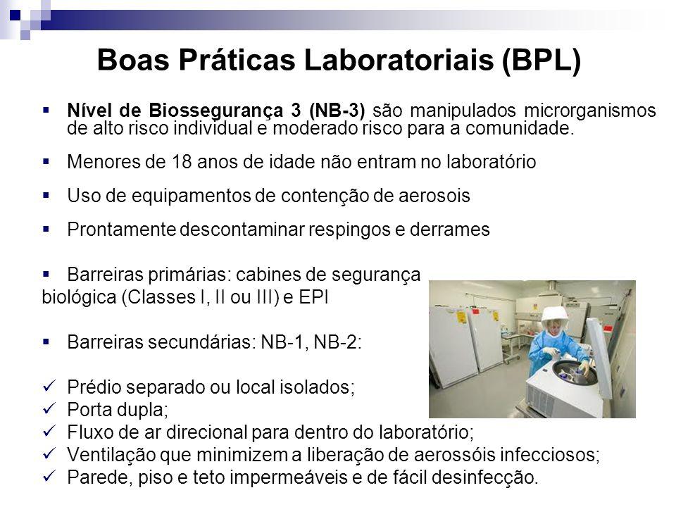 Boas Práticas Laboratoriais (BPL) Nível de Biossegurança 3 (NB-3) são manipulados microrganismos de alto risco individual e moderado risco para a comu