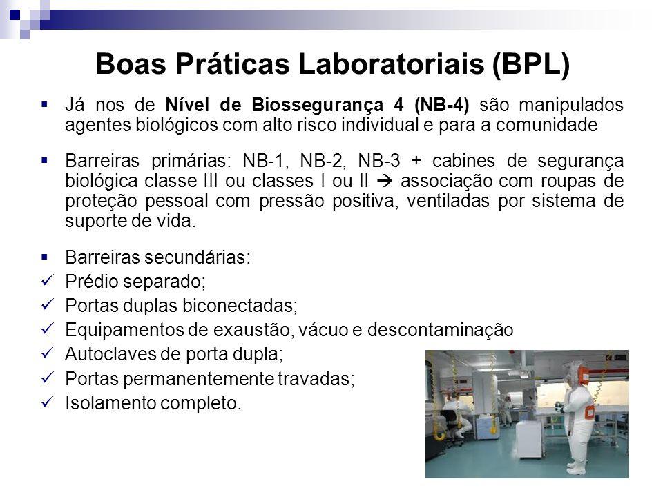 Boas Práticas Laboratoriais (BPL) Já nos de Nível de Biossegurança 4 (NB-4) são manipulados agentes biológicos com alto risco individual e para a comu