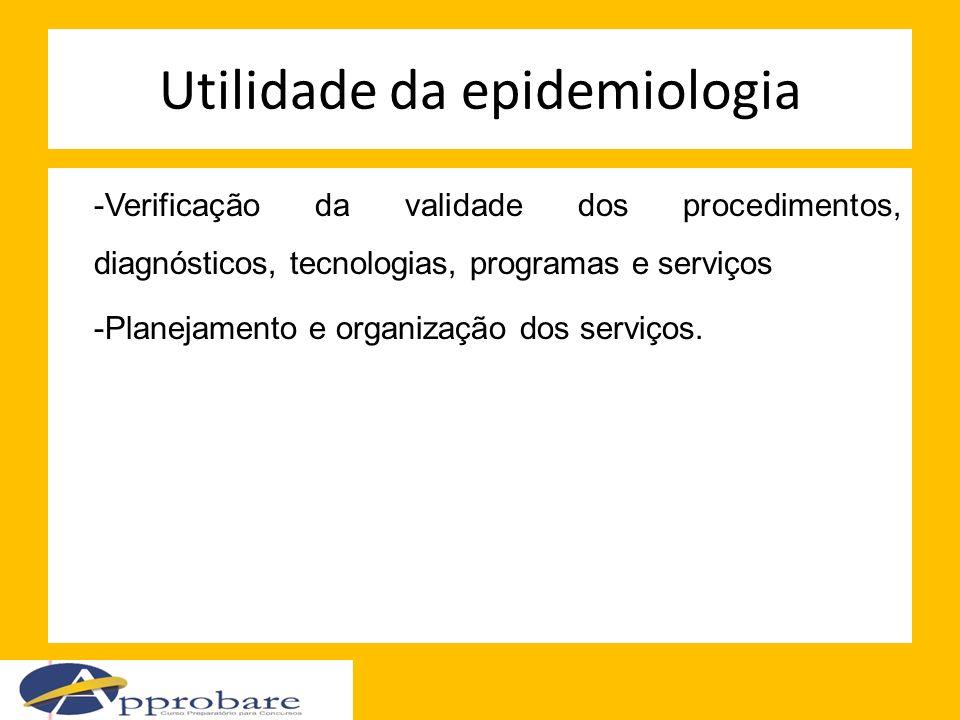 Utilidade da epidemiologia -Verificação da validade dos procedimentos, diagnósticos, tecnologias, programas e serviços -Planejamento e organização dos
