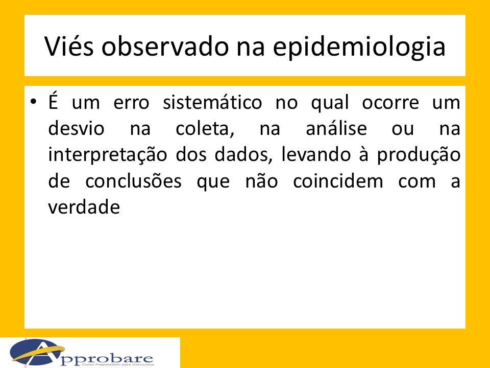 Viés observado na epidemiologia É um erro sistemático no qual ocorre um desvio na coleta, na análise ou na interpretação dos dados, levando à produção