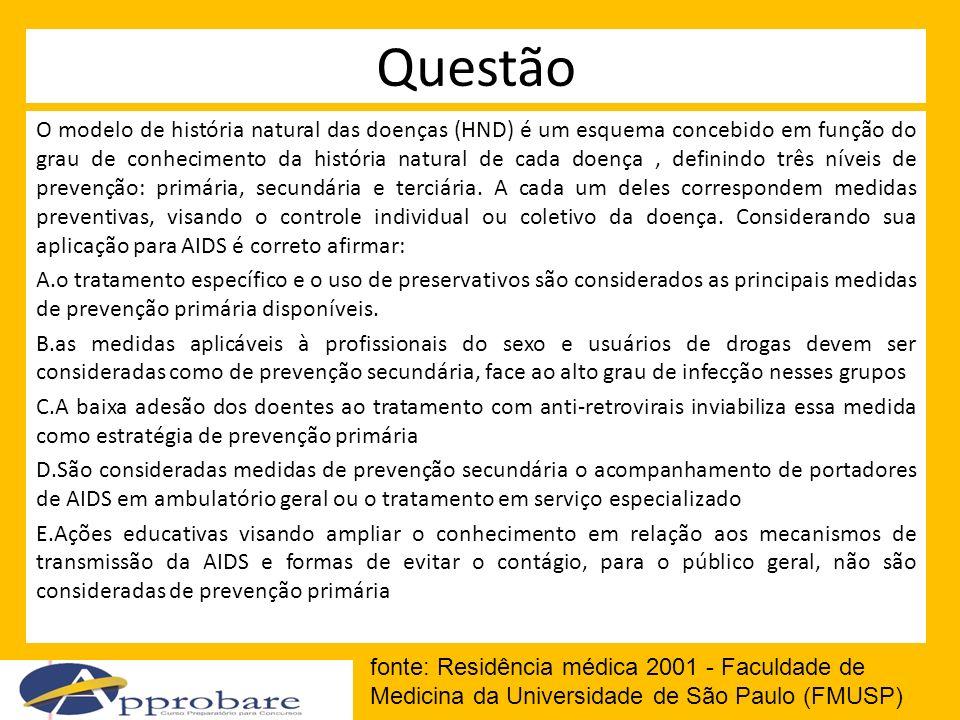 Questão O modelo de história natural das doenças (HND) é um esquema concebido em função do grau de conhecimento da história natural de cada doença, de
