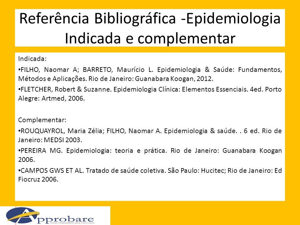 Referência Bibliográfica -Epidemiologia Indicada e complementar Indicada: FILHO, Naomar A; BARRETO, Maurício L. Epidemiologia & Saúde: Fundamentos, Mé