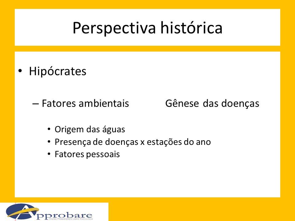 Perspectiva histórica Hipócrates – Fatores ambientaisGênese das doenças Origem das águas Presença de doenças x estações do ano Fatores pessoais