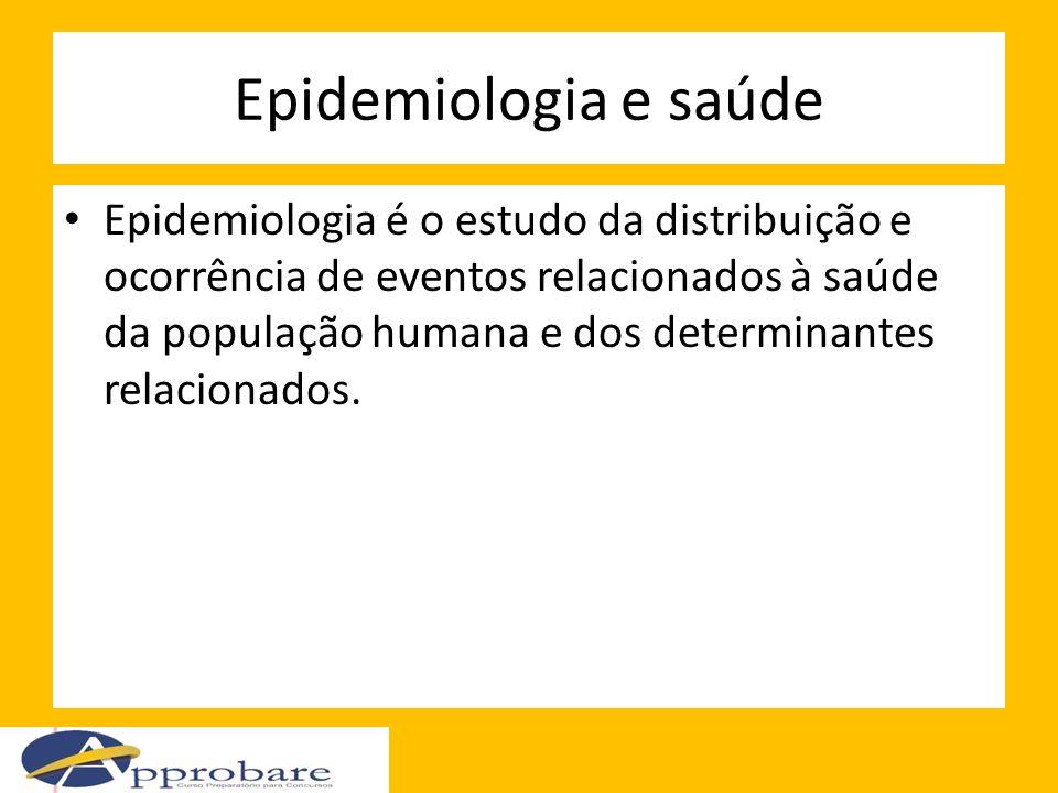 Epidemiologia e saúde Epidemiologia é o estudo da distribuição e ocorrência de eventos relacionados à saúde da população humana e dos determinantes re